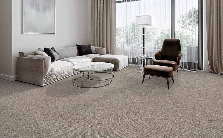 Neutral colored living room that has beige carpet.